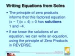 writing equations from solns