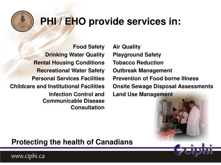 PHI / EHO provide services in: