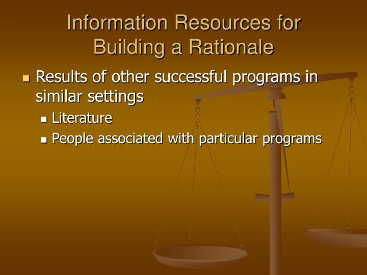 Information Resources for