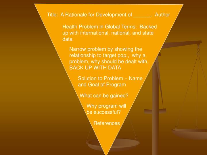 Title:  A Rationale for Development of ______.  Author