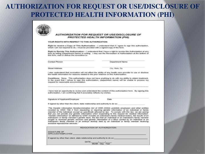 AUTHORIZATION FOR REQUEST OR USE/DISCLOSURE OF