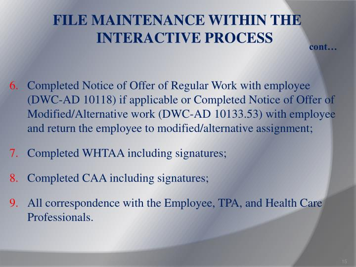 FILE MAINTENANCE WITHIN THE INTERACTIVE PROCESS