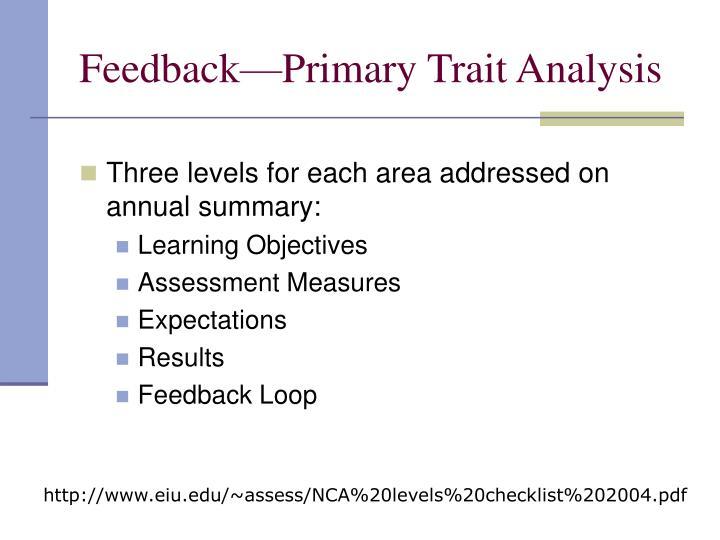 Feedback—Primary Trait Analysis