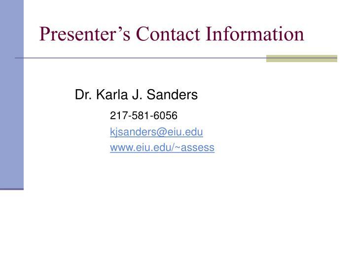Presenter's Contact Information