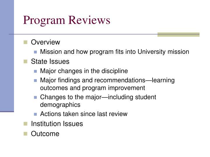 Program Reviews