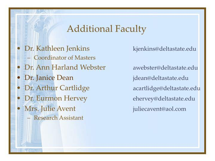 Additional Faculty