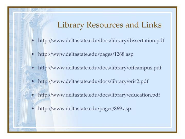 Library Resources and Links