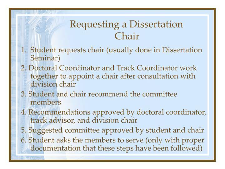 Requesting a Dissertation Chair