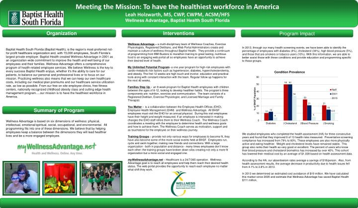 Meeting the Mission: To have the healthiest workforce in America