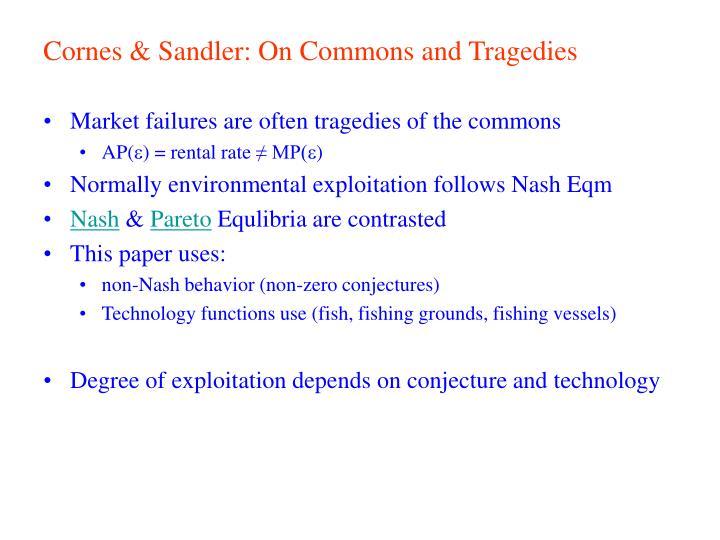 Cornes & Sandler: On Commons and Tragedies