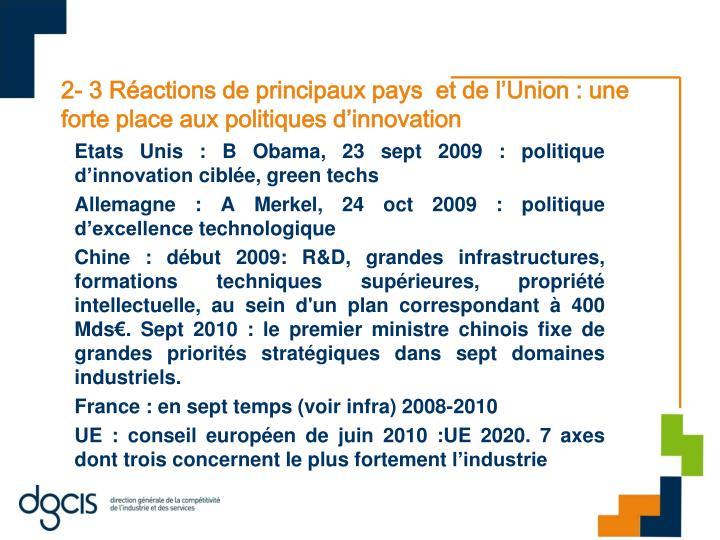 2- 3 Réactions de principaux pays  et de l'Union : une forte place aux politiques d'innovation