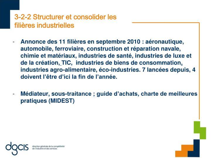 3-2-2 Structurer et consolider les filières industrielles