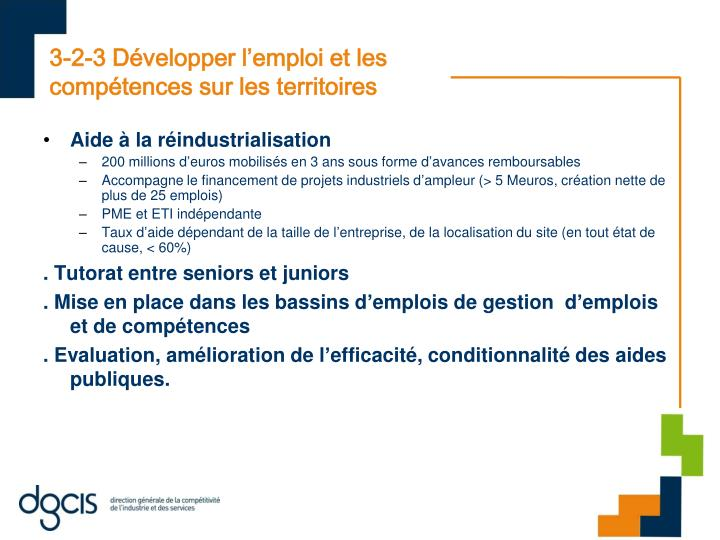 3-2-3 Développer l'emploi et les compétences sur les territoires