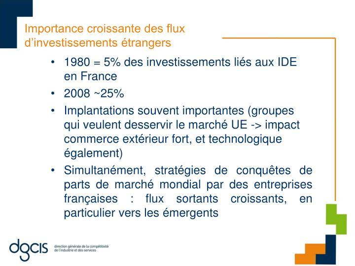 Importance croissante des flux d'investissements étrangers