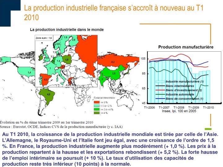 La production industrielle française s'accroît à nouveau au T1 2010