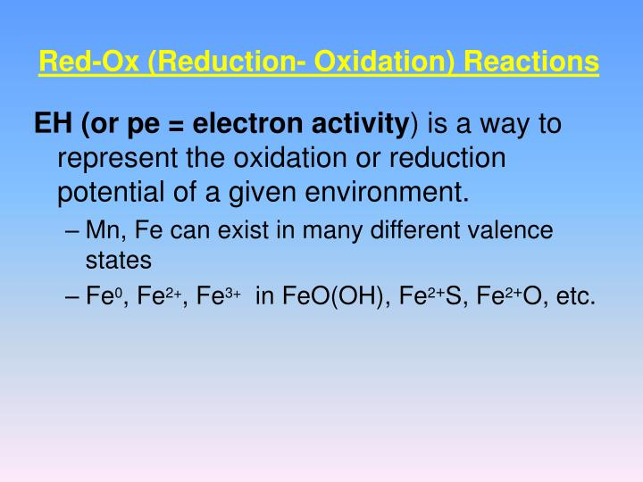 Red-Ox (Reduction- Oxidation) Reactions