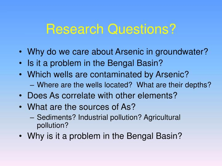 Research Questions?