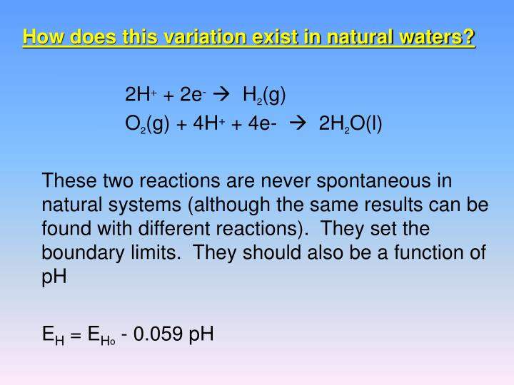 How does this variation exist in natural waters?