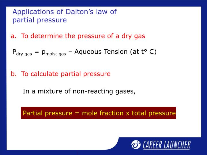 Applications of Dalton's law of partial pressure