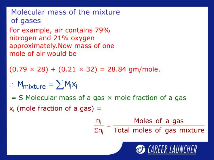 Molecular mass of the mixture of gases