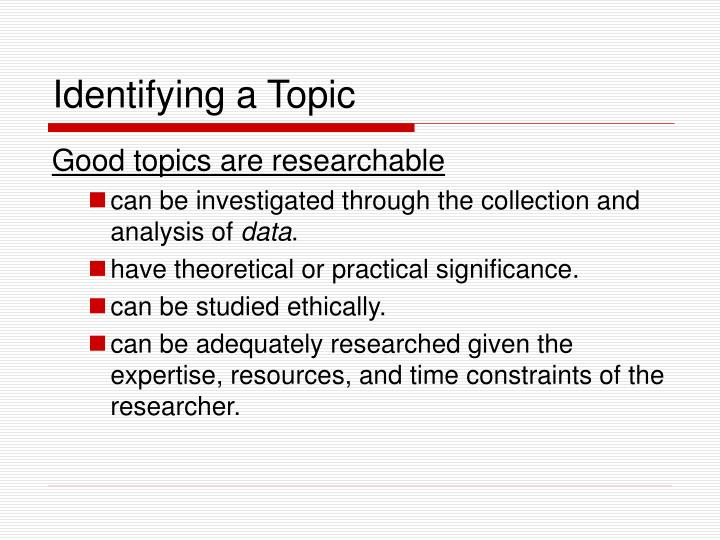 Identifying a Topic