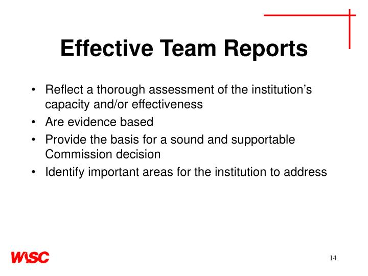 Effective Team Reports