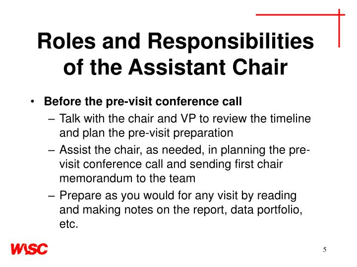 Roles and Responsibilities of the Assistant Chair