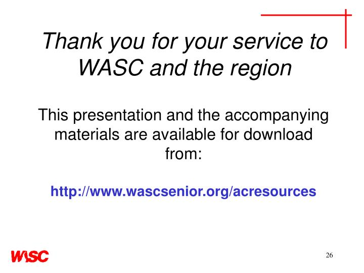 Thank you for your service to WASC and the region