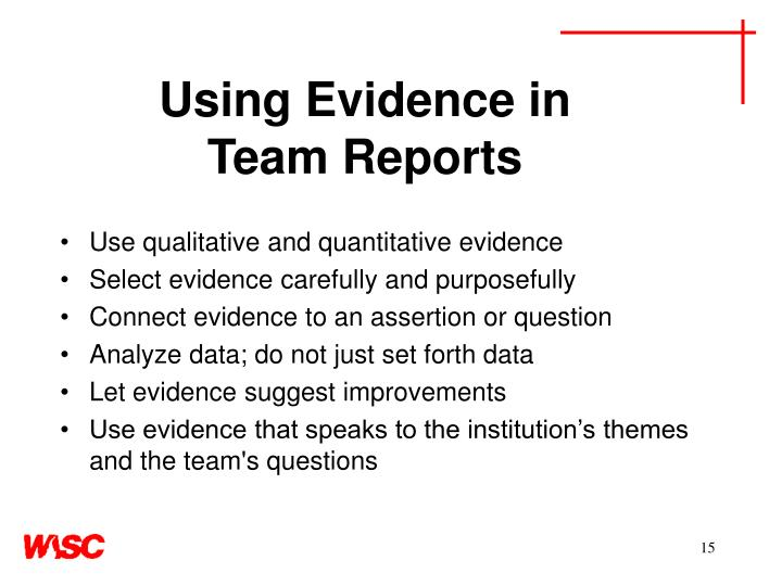 Using Evidence in
