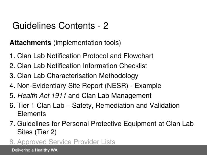 Guidelines Contents - 2