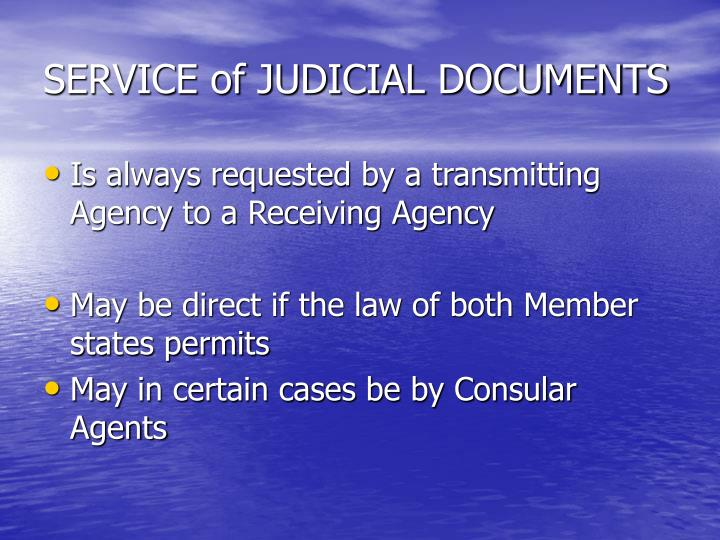 SERVICE of JUDICIAL DOCUMENTS