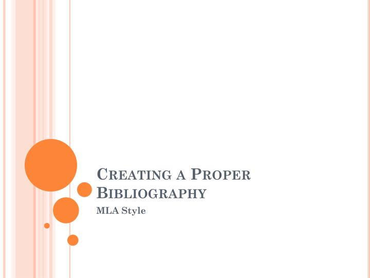 Creating a proper bibliography