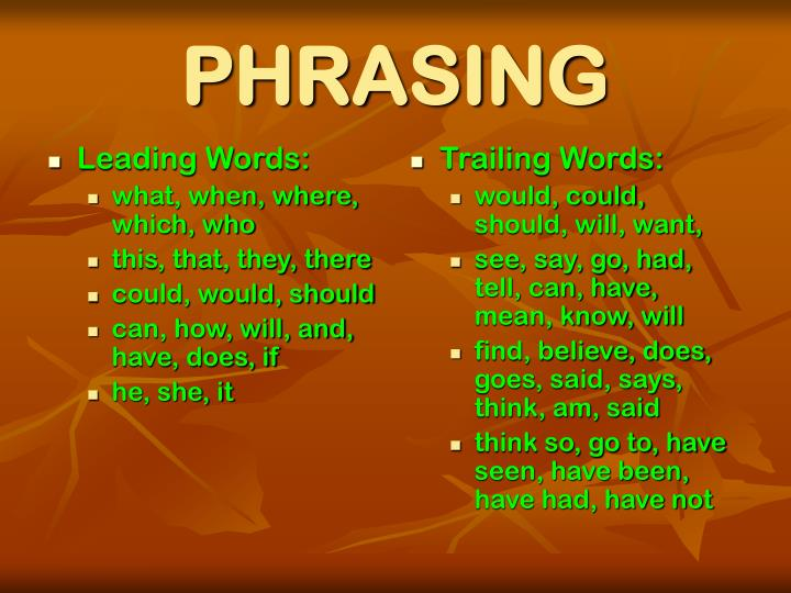 Leading Words: