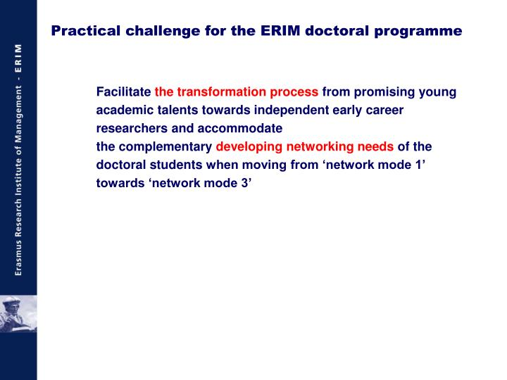 Practical challenge for the ERIM doctoral programme