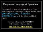 the plhrovw language of ephesians