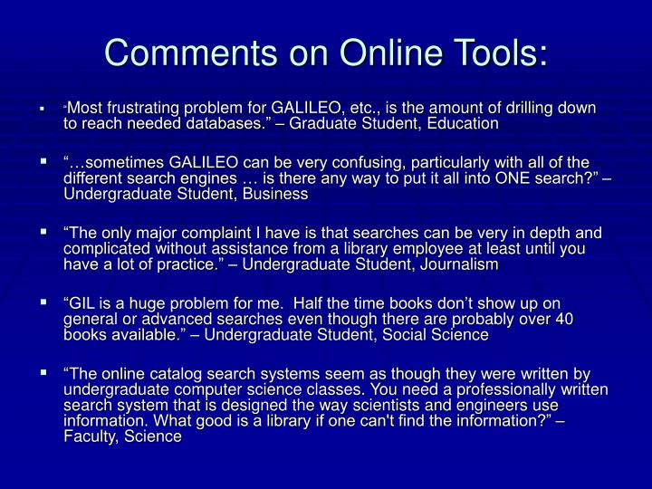 Comments on Online Tools: