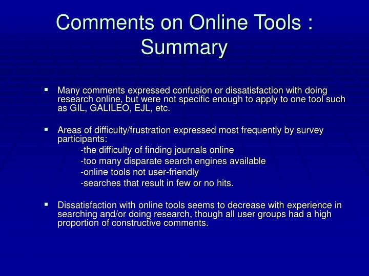 Comments on Online Tools : Summary