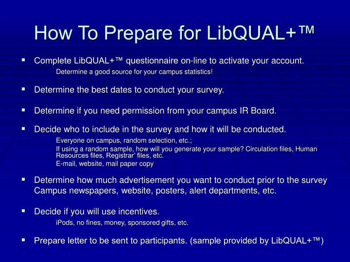 How To Prepare for LibQUAL+™