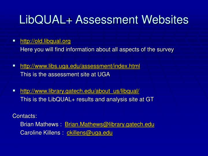 LibQUAL+ Assessment Websites