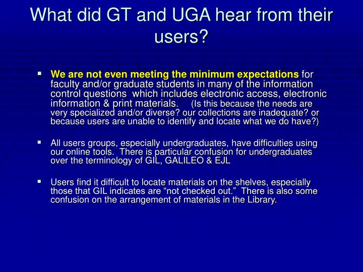 What did GT and UGA hear from their users?
