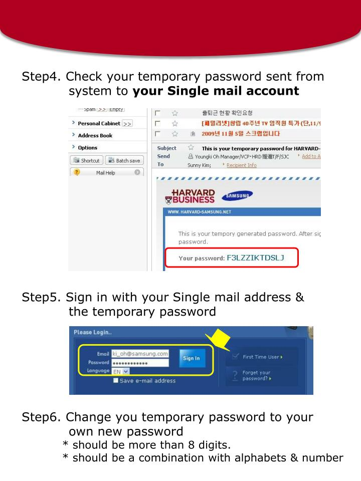Step4. Check your temporary password sent from