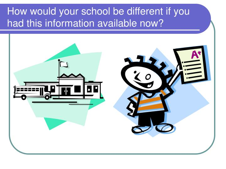 How would your school be different if you had this information available now?