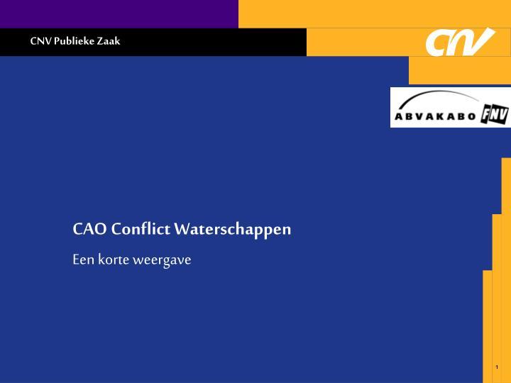 CAO Conflict Waterschappen