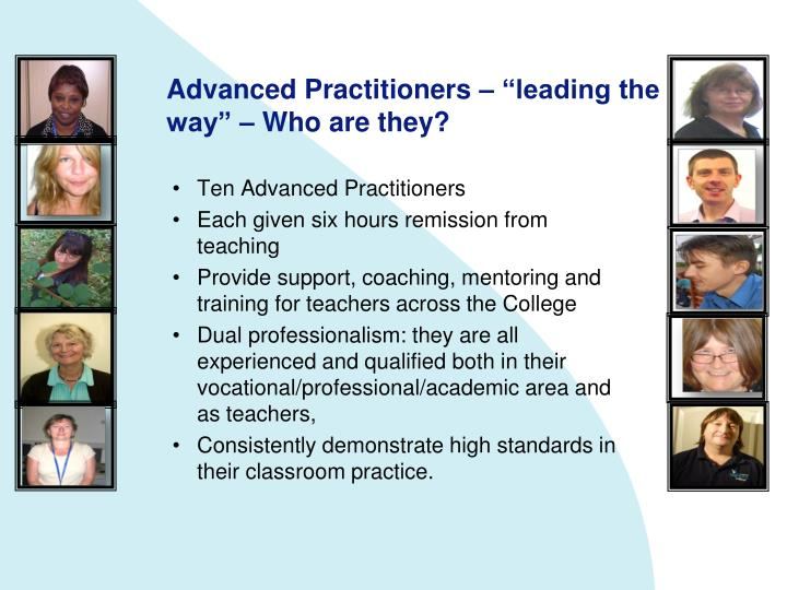 "Advanced Practitioners – ""leading the way"" – Who are they?"