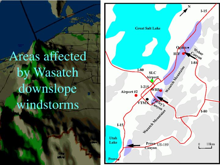 Areas affected by Wasatch downslope windstorms
