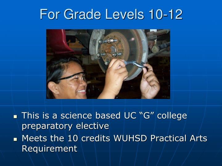 For Grade Levels 10-12