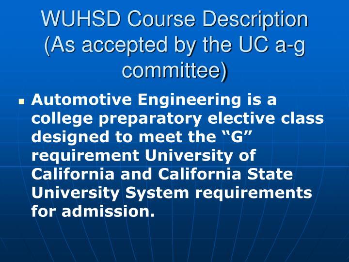 WUHSD Course Description