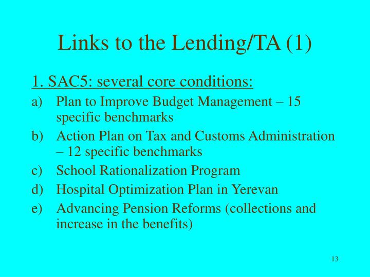 Links to the Lending/TA (1)