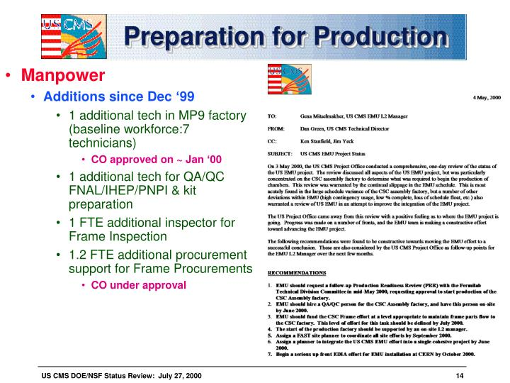 Preparation for Production