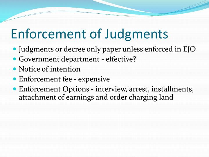 Enforcement of Judgments